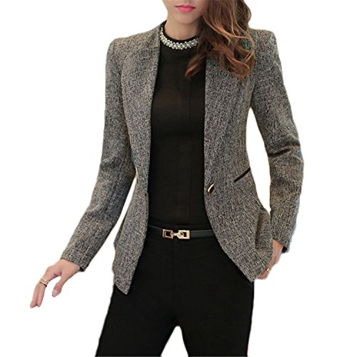 [David Salc Spring Plus Size Blazer NEW Basic Solid Costume Office Female Formal Jackets Work Suit WAT1078 greyXXXL] (4th Of July Costumes Australia)