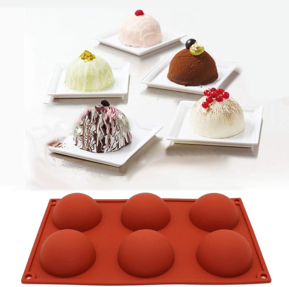 Kuchen Kuppelmousse 6 L/öcher halbrund f/ür Schokolade zylindrische Form Brot Pudding Kekse Gelee 15 L/öchern 3 Packungen Silikonform maxin Silikonform mit 6 L/öchern