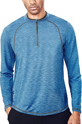 Tech Quarter Zip Pullover Running Shirt Men Dry Fit Zip T Shirt (XXL, Blue & Grey) (Golf Pullover Athletic)