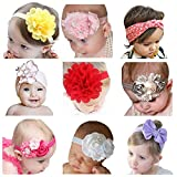 Hip Mall 9pcs Baby Girl Headbands Newborn Hairband with Flowers Bows
