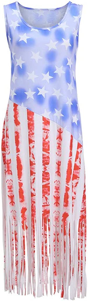 ZHENBAO Womens Tank Bodycon Sleeveless American Flag Printed Tassel Hem Dress Plus Size XL~XXXXXL