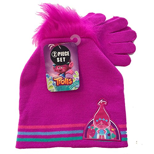 DreamWorks Trolls Faux Troll Hair Knit Beanie Hat and Glove 2 piece Girls Set (Homemade Cupcake Costume Kids)