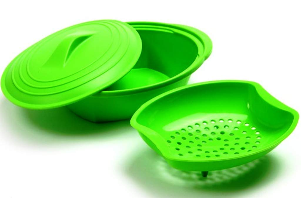 Vegetable Steamer Silicone Cook Microwave Basket with Bonus from Wellsbond (Green)