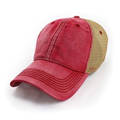 Cap Legacy - Blank Trucker Hat, Vintage Salt-Wash, Nautical Red
