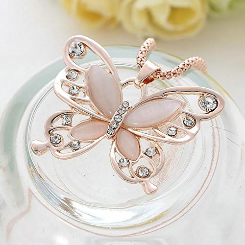 Necklace Opeof Women's Opal Rhinestone Inlaid Butterfly Pendant Sweater Chain Necklace - Butterfly Pendant Opal
