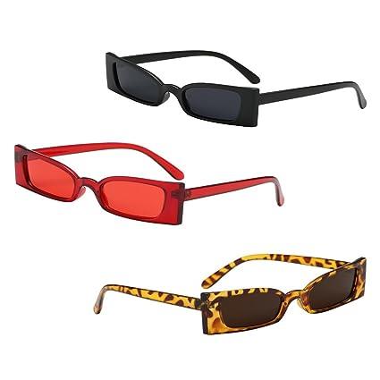 B Blesiya 3 Unids Gafas de Sol UV 400 Rectángulo Vintaje ...