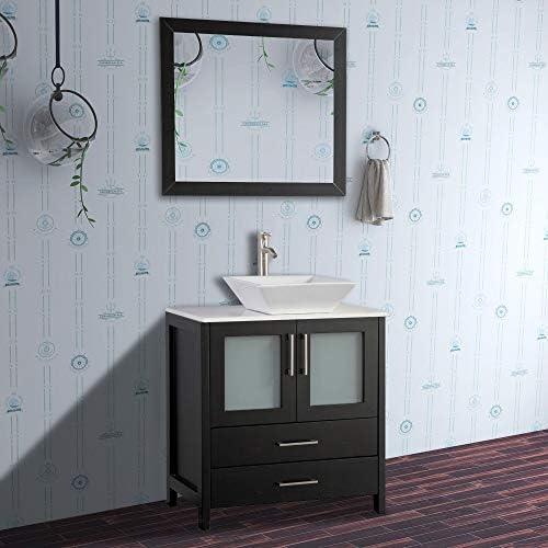 Vanity Art 30 inch Single Sink Bathroom Vanity Combo – Free Mirror – Compact 2 Door, 2 Drawer Bathroom Cabinet White Quartz Top Espresso – VA3130