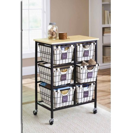 Better Homes and Gardens 6-Drawer Wire Cart, Black by Better Homes & Gardens (Image #6)