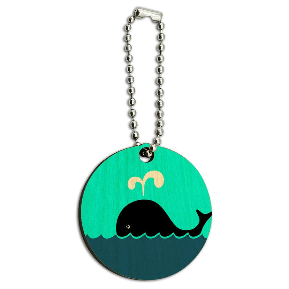 Whale of a Time Wood Wooden Round Key Chain