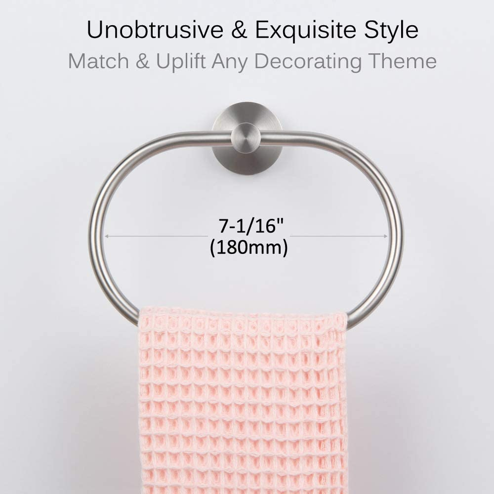 Bathroom Towel Holder Towel Ring Brushed Gold Unique Oval Shaped Towel Hanger for Wall or Cabinet Angle Simple SUS304 Stainless Steel Hand Towel Rack