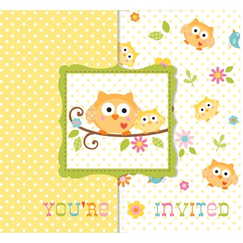 Gatefold Invites - Creative Converting (897128B) Baby Shower Happi Tree 25 Count Enhanced Invitations