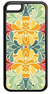 Floral Damask Pattern- Case for the Apple Iphone 6 Plus Only- Hard Black Plastic Snap On Case