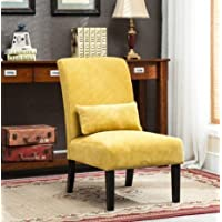 Mid Century Modern Chenille Fabric Upholstered Armless Accent Lounge Chair with Kidney Pillow and Solid Wood Legs - Includes Modhaus Living Pen (Yellow)