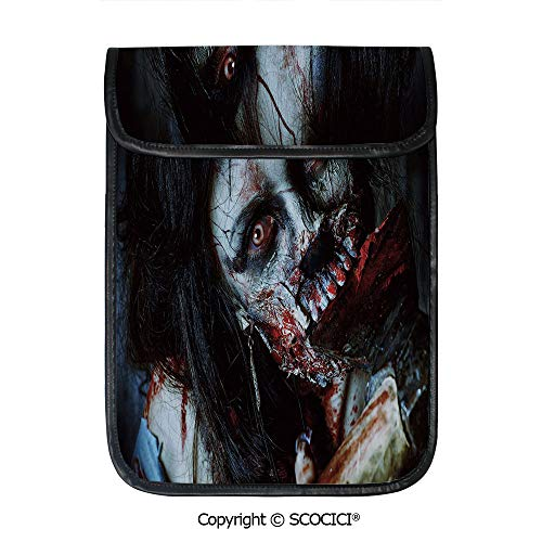 SCOCICI Tablet Sleeve Bag Case,Scary Dead Woman with Bloody Axe Evil Fantasy Gothic Mystery Halloween Picture,Pouch Cover Cases for iPad Pro 12.9 in and Any Tablet]()