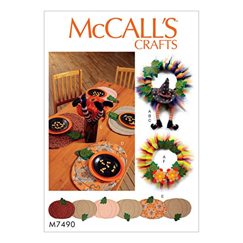 McCall Patterns M7490OSZ Pumpkin Placemats/Table Runner, Witch Hat/Legs and Wreaths Sewing Pattern, One Size Only (Placemat Mccalls)