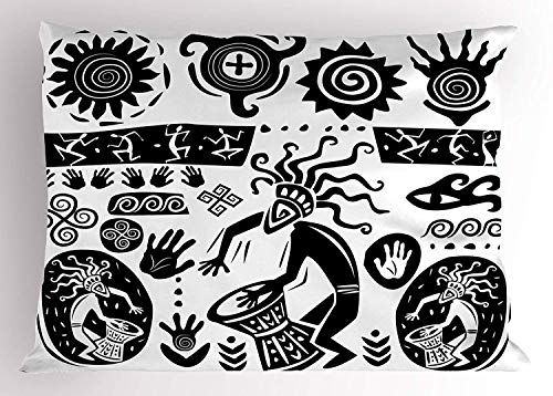 (K0k2t0 Primitive Pillow Sham, Prehistoric Cave Drawing Figures with Symbolic Tribal Objects Shaman Totem Theme, Decorative Standard Queen Size Printed Pillowcase, 30 X 20 inches, Black White)