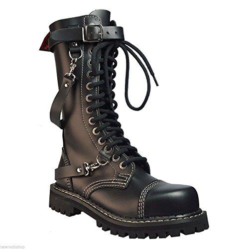 Angry Itch 14 Buchi Stivali Militari Anfibi in Pelle Color Nero punta di ferro Fibbia punk