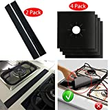 2Pcs Stove Counter Gap Cover Filler Guard and 4Pcs Gas Stove Burner Covers Liners Gas Range Protector, Black