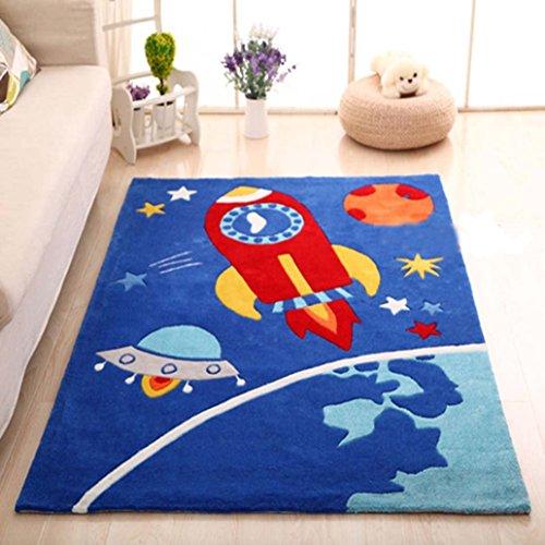 MAXYOYO Boys and Girls Cartoon Carpet Pink/Blue Kids Bedroom Soft Carpet  Children\'s Rugs (Space Rocket)