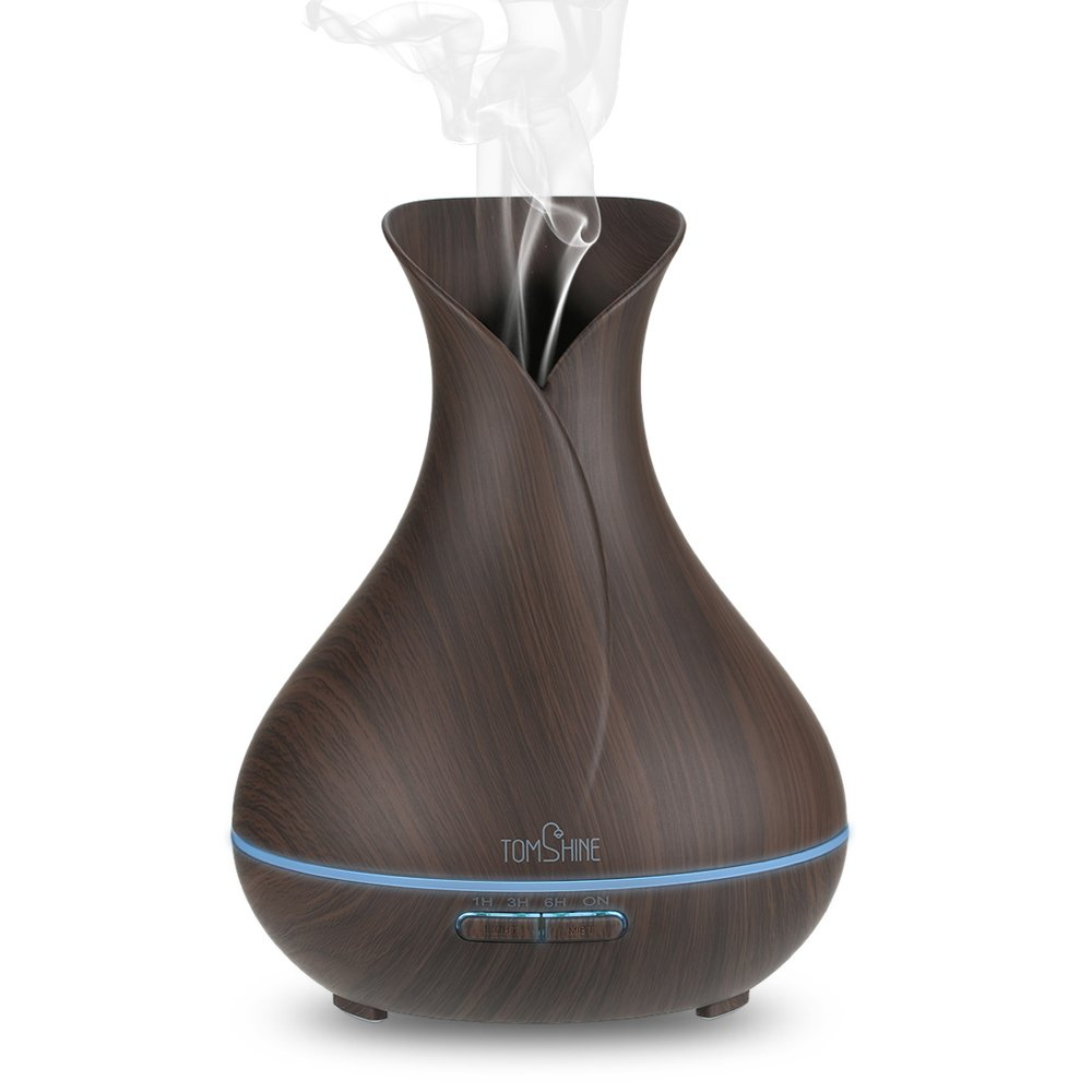Tomshine 400ml Mist Air Humidifier Ultrasonic Aroma Essential Oil Diffuser Wood-Grain 7 Color Changing Light 4 Time Setting
