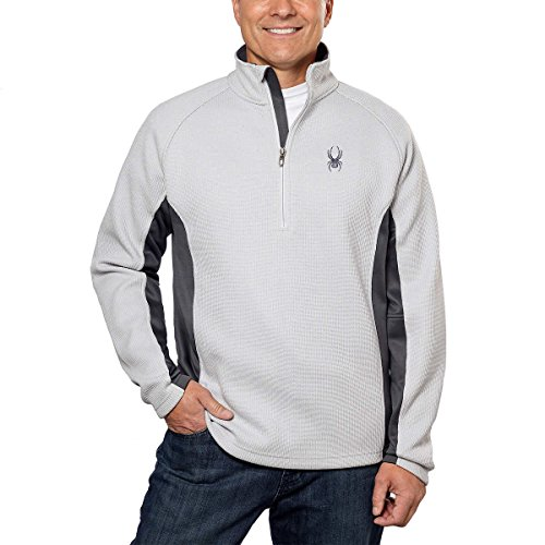 Soft Shell Half Zip Pullover - Spyder Men's Outbound Half Zip Jacket with Sweater Knit Shell, XS, Cirrus