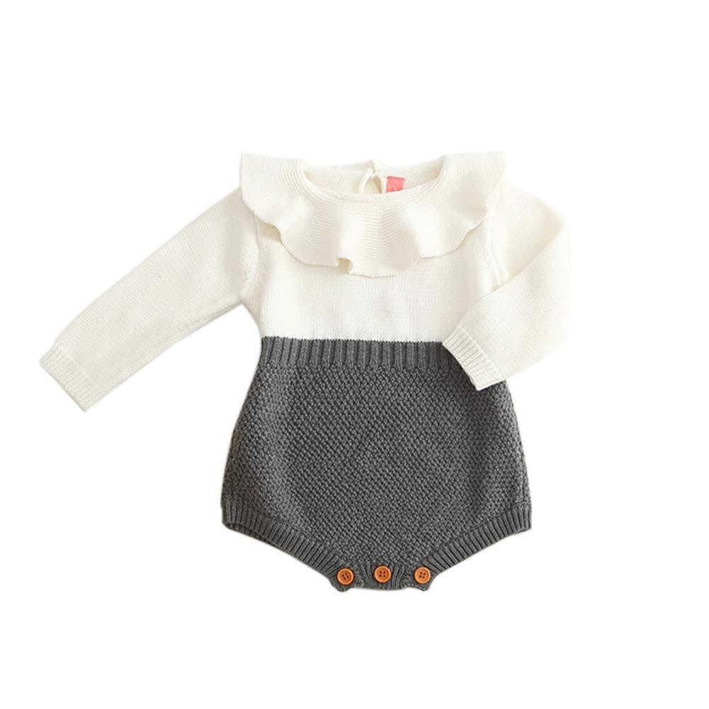 Nlyefa Newborn Baby Romper Princess Knitted Sweater Ruffle Collar Long Sleeve Baby Girls Jumpsuit Christmas Clothing