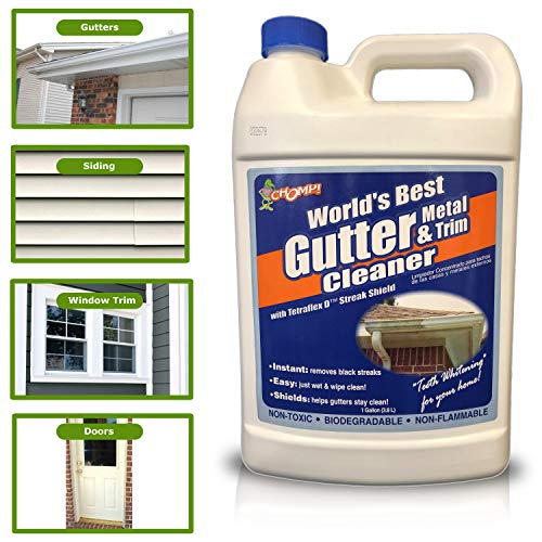 CHOMP Worlds Best Instant Cleaning and Removal of Black Streaks, Algae, Mold, Mildew, Oxidation/Professional and DIY Gutter- Siding Cleaner, 1 Gallon (Best Vinyl Siding Cleaner Solution)