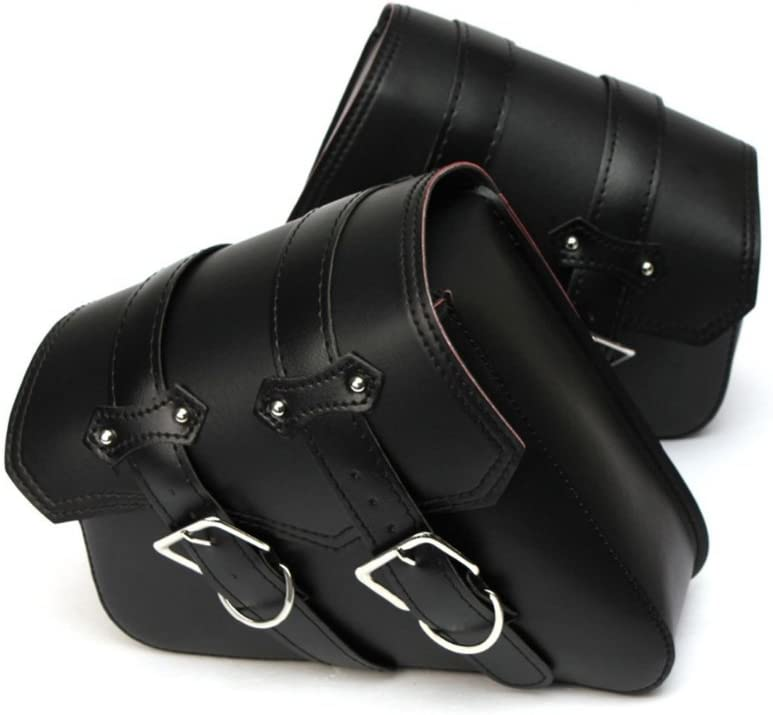 KKmoon Alforjas para Moto, Bolsas Laterales de Cuero Impermeable de PU Sintético Universal para Motocicleta(28 x 24 x 11cm)