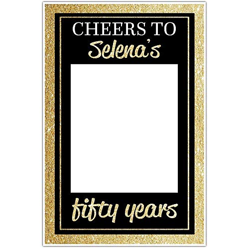 Cheers to Fifty Years Birthday Selfie Frame Gold Glitter Social Media Photo Booth Prop Party Poster