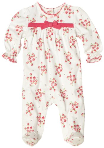 ABSORBA Baby-girls Newborn Floral Printed Footie With Puffed Sleeves