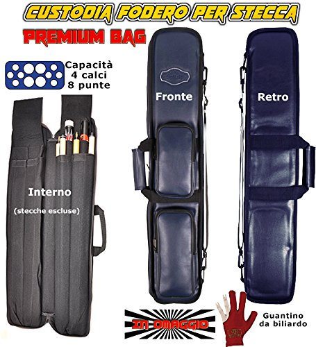 Buffalo Custodia Stecca Biliardo Premium Blu Fodero Porta Stecca Imbottito in Pelle Sintetica capacita 4 calci e 8 Punte con Guanto Omaggio.