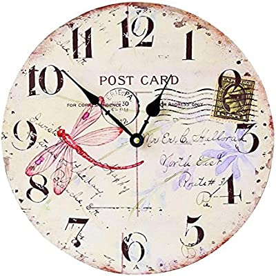 Yunfeng Wall Clock Silent,Café Decoration Frame-Free Quartz Wall Clock Mute Non-tick Easy-to-Read Clock