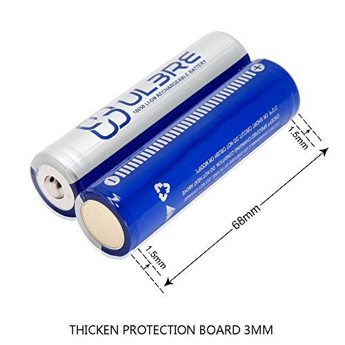 ULBRE 3.7V 18650 Battery 2pcs 2200mAh Li-ion Rechargeable Button Top Battery Packs for Flashlight/Headlamps/Power Banks