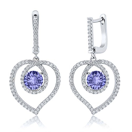 Gem Stone King 4.20 Ct Blue Tanzanite 925 Sterling Silver Heart Dangling - 4.2 Ct Heart