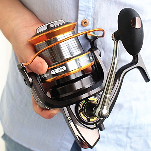 VAVO 9000 Big Spool Boat Fishing Reel 13 BB Sea Spinning Saltwater Trolling Reel (Big Water Spinning Reel)