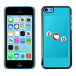 Soft Silicone Rubber Case Hard Cover Protective Accessory Compatible with Apple iPhone 5C - I love you Typography