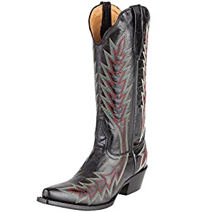 Johnny Ringo Boots Womens Black Snip Toe Cowgirl Boots 9 B Black/Red