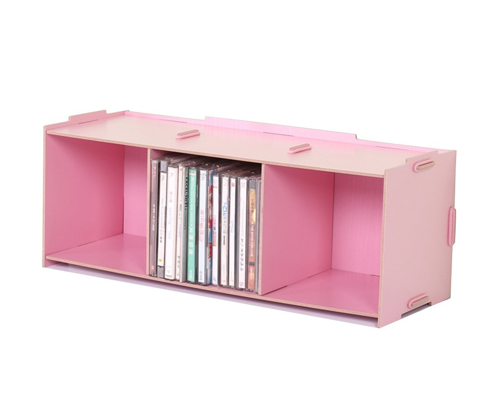 LXJ Desktop Organizer,Office Supplies Large Capacity CD Storage Box Compact Disc Holder Display Shelf for Office School Home (pink)
