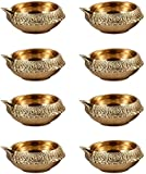 Hashcart (Set of 10) Handmade Indian Puja Brass Oil Lamp - Diya Lamp Engraved Design Dia - 2.5 inch
