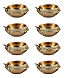 Hashcart Handmade (Set of 40) Indian Puja Brass Oil Lamp - Golden Diya Lamp Engraved Design Dia - 2.5 Inch