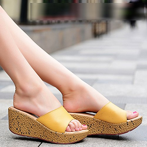 EU Outer heel Thick UK Word 6 US Summer yellow Slope bottom women's wear High trailer flops flip Leatherette AWXJX 8 39 5 CUPqwX