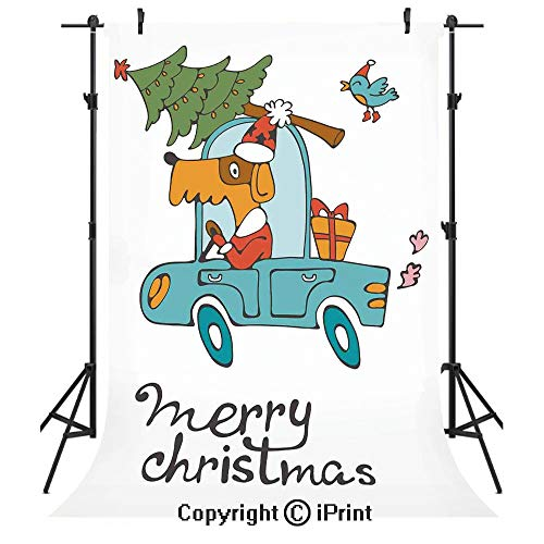 Christmas Photography Backdrops,Blue Vintage Car Dog Driving with Santa Costume Cute Bird Tree and Gift Present,Birthday Party Seamless Photo Studio Booth Background Banner 6x9ft,White -