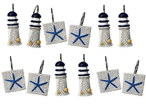 Set of 12 Shower Curtain Decorative Hooks Rings Ocean Beach Design Lighthouse Light House Starfish Bathroom Decor
