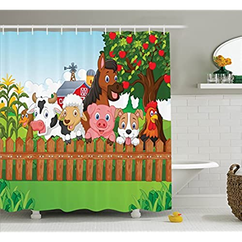 Kids Shower Curtain Cartoon Decor By Ambesonne, Cute Farm Animals On The  Fence Of Comic Mascots With Dog Cow Horse For Kids Decor, Fabric Bathroom  Shower ...