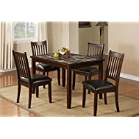 Home Source 50902117 5-Piece Brentwood Collection Asian Hardwood Dining Set, 30 by 48 by 36-Inch, Espresso/Faux Brown Marble