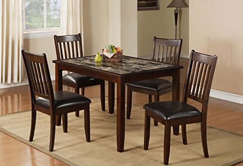 Home Source 50902117 5-Piece Brentwood Collection Asian Hardwood Dining Set, 30 by 48 by 36-Inch, Espresso/Faux Brown Marble - Collection 5 Piece Dining Room