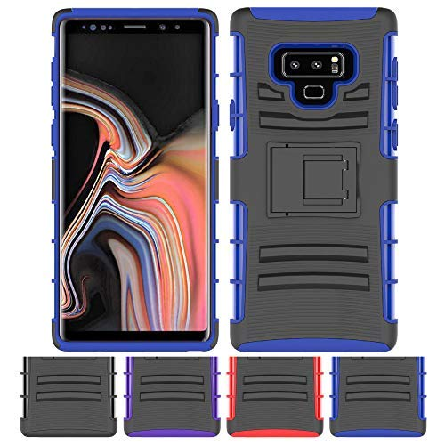 Price comparison product image Galaxy Note 9 Stand Case, HLCT Rugged Shock-Proof Dual Layer PC and TPU Case with Built in Kickstand for Samsung Galaxy Note 9 (Blue)