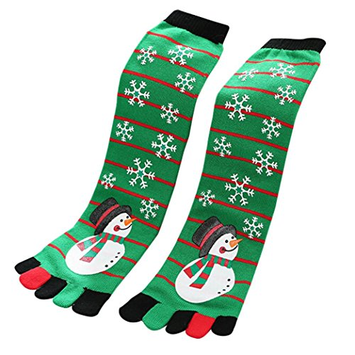 Paymenow Women's Fun Colorful Five Toes Ankle Christmas Socks Winter Warm Stretchy Crew Socks (B)