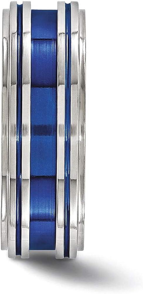Lex /& Lu Edward Mirell Titanium Grooved Blue Anodized 8mm Band