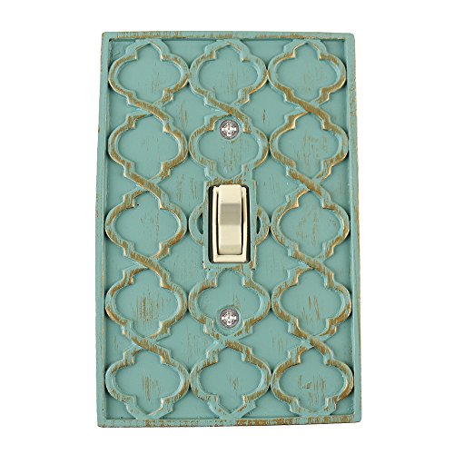 Meriville Moroccan 1 Toggle Wallplate, Single Switch Electrical Cover Plate, Buckingham Green with Gold
